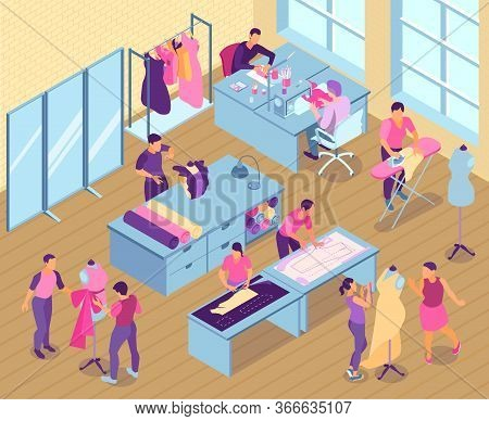 Isometric Sewing Studio Illustration With Seamstress And Tailors Work In The Studio Vector Illustrat
