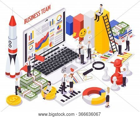 Soft Skills For Successful Business Startup Concept Isometric Composition With Teamwork Communicatio
