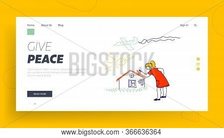 International Kids Day Or Peace Day Holidays Landing Page Template. Happy Child Character Painting O