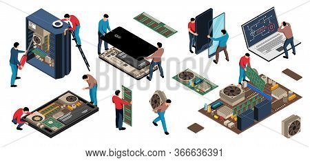 Isometric Electronics Appliances Gadget Repair Service Set With Isolated Human Characters Of Repairm