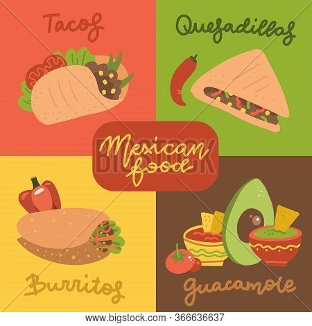 Mexican Food Menu Mini Posters Set With Traditional Meal. Vector Flat Hand Drawn Illustration Of Tac