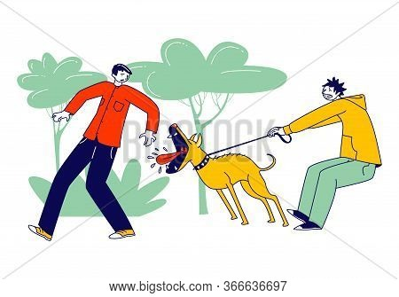 Scared Passerby Male Character Dash Aside Of Dog Attack Him In Park. Owner Holding Aggressive Pet On