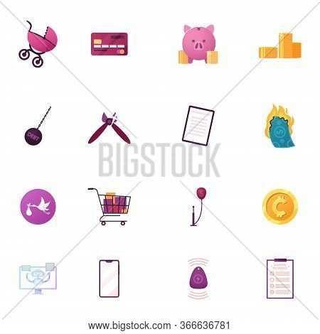 Set Icons Baby Stroller, Credit Card And Piggy Bank With Golden Coins, Debt Weight, Clippers And Pap