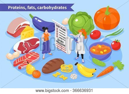 Isometric Dietician Nutritionist Composition With Diet Plan Doctor Character And Ripe Food Images Wi