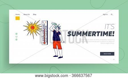 Heat Stroke Landing Page Template. Man Pouring Water From Bottle On Head Avoiding Fierce Heating Sun