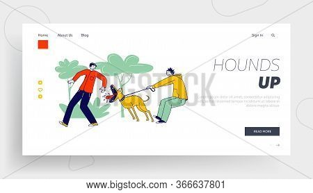 Animal Barking Trying To Bite Man On Street Landing Page Template. Scared Passerby Male Character Da