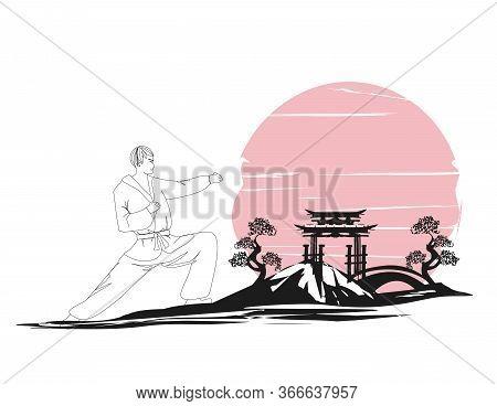 Creative Abstract Illustration Of Karate Fighter , Vector Illustration