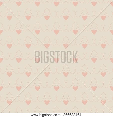 Seamless Pattern With Little Hearts. Cream Ivory Color And Heart Color Orange . Pastel Colors. Vecto