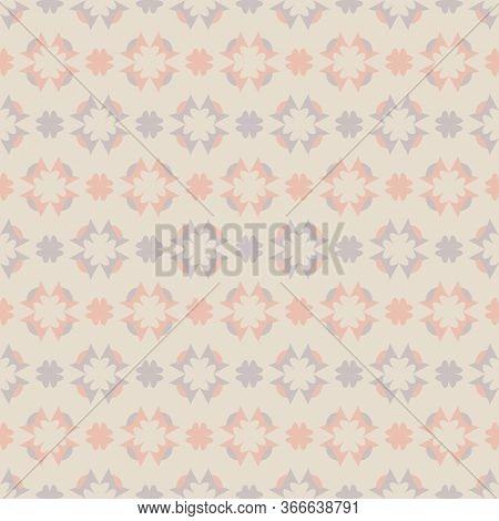 Seamless Pattern With Hearts. Color Cream Ivory, Grey And Orange. Pastel Colors. Vector.