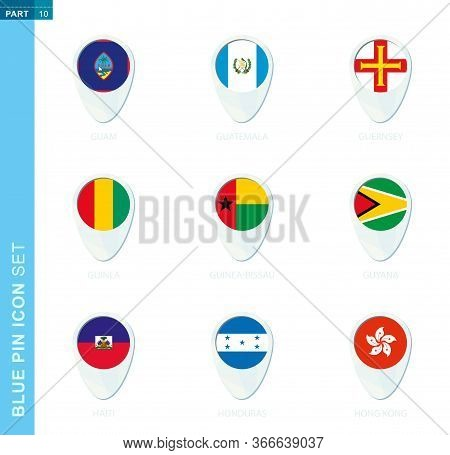 Pin Flag Set, Map Location Icon In Blue Colors With Flag Of Guam, Guatemala, Guernsey, Guinea, Guine