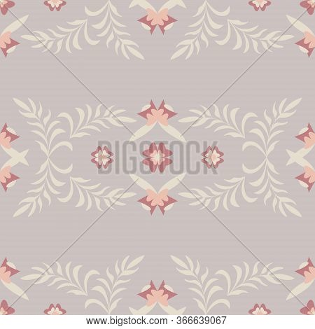 Seamless Pattern Flower And Leaf. Color Grey Pastel Colors. Vector.