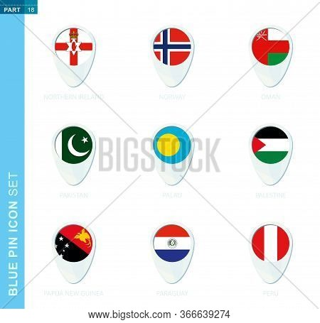 Pin Flag Set, Map Location Icon In Blue Colors With Flag Of Northern Ireland, Norway, Oman, Pakistan