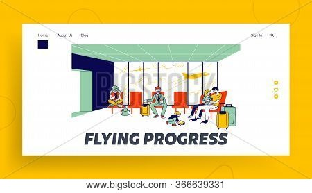 Characters In Airport Waiting Boarding Landing Page Template. Travelers In Terminal With Flying Airp