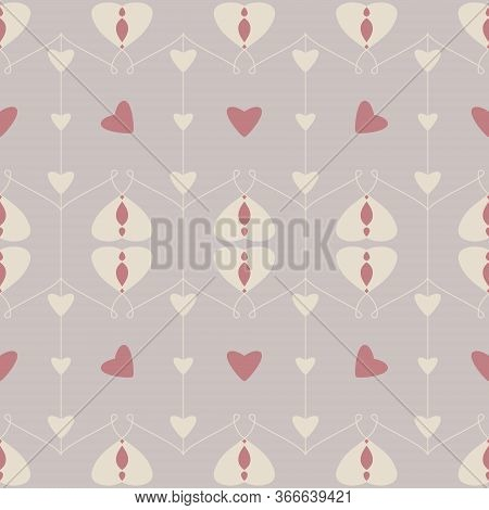 Seamless Pattern With Hearts And Little Hearts. Color Grey, Cream Ivory. And Red. Pastel Colors. Vec