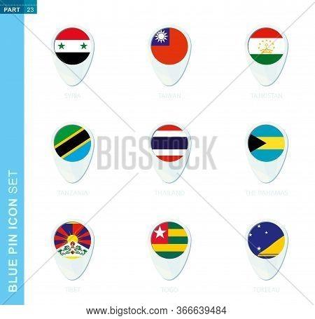 Pin Flag Set, Map Location Icon In Blue Colors With Flag Of Syria, Taiwan, Tajikistan, Tanzania, Tha