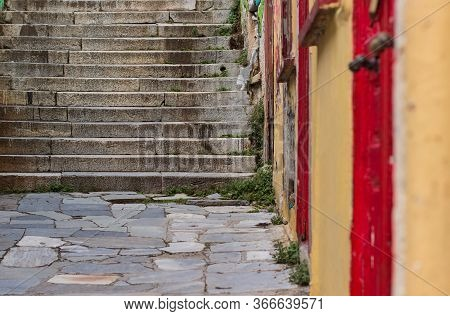Concrete Stairs In Urban Street Slum Ghetto Environment Perspective Foreshortening Space