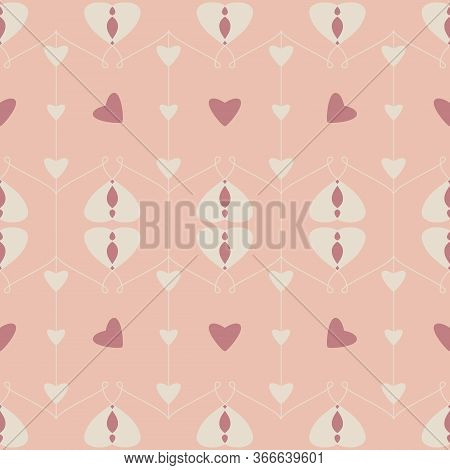 Seamless Pattern With Hearts And Little Hearts. Color Orange, Cream Ivory And Red. Pastel Colors. Ve