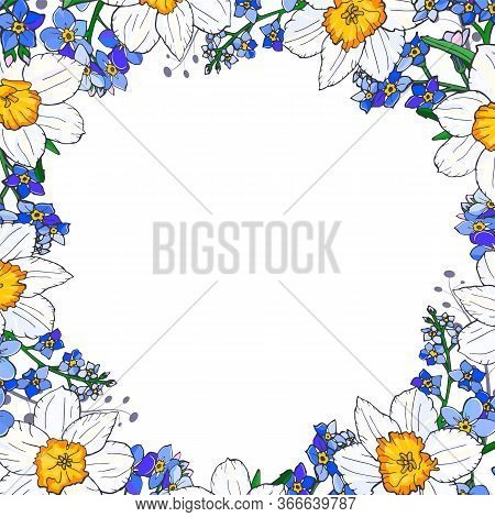 Spring Flowers Square Border Composition With Narcissus And Forget-me-not Flowers. Vector Illustrati