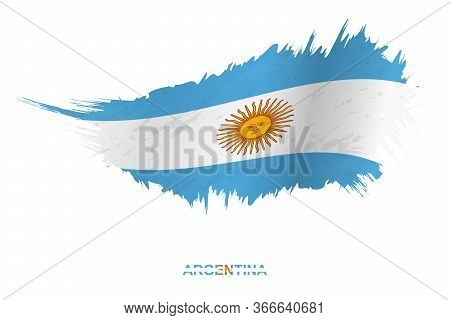 Flag Of Argentina In Grunge Style With Waving Effect, Vector Grunge Brush Stroke Flag.