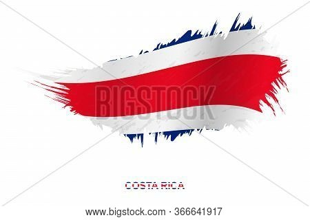 Flag Of Costa Rica In Grunge Style With Waving Effect, Vector Grunge Brush Stroke Flag.