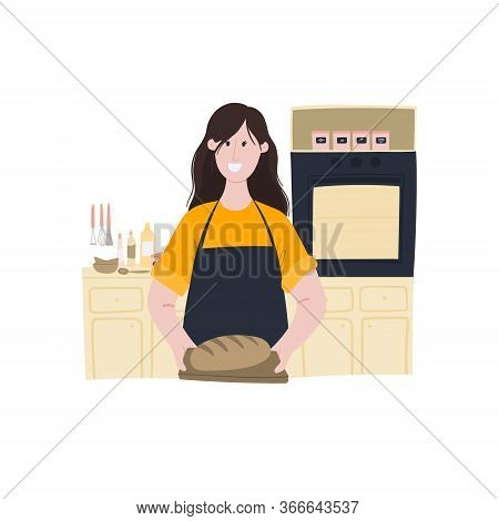 Woman Holds Ready-made Bread In Her Hands. Home Baking, Cooking Homemade Bread. Cartoon Hand Drawn D