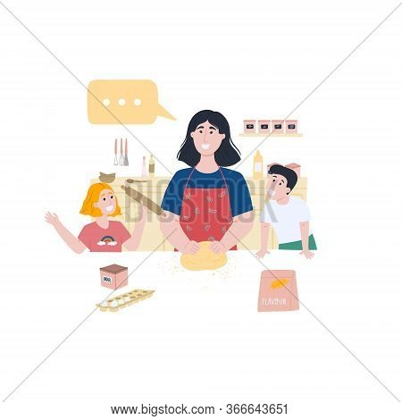 Mom And Two Children Girl And Boy Are Preparing Homemade Bread. Bonding And Quality Family Time. Hob