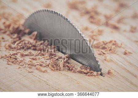 Circular Saw Cutting Wooden Plank. Circular Milling In Oak Block.