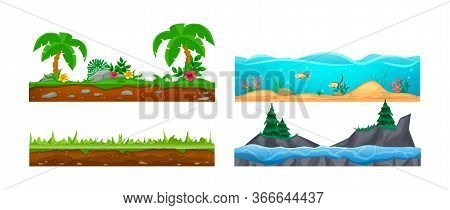 Game Landscape, Gaming Interface. Landscape For 2d Games. Scenery With Cactus, Soil, Sandy Ground, L
