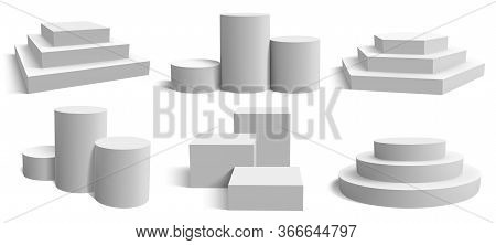 Stage Podium Platforms. Realistic White Square And Round Pedestal, Geometric Empty Stand Stage Vecto