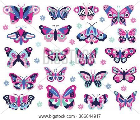 Doodle Butterflies Insect. Hand Drawn Spring Insects, Colorful Flying Papillon. Drawing Butterflies