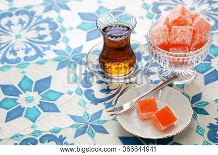 homemade turkish delight lokum, rose flavor