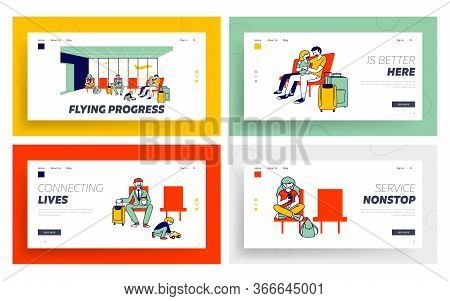 Travelling With Kids, Business Trip, Voyage Landing Page Template Set. Characters In Airport Wait Bo