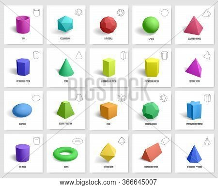 Realistic 3d Geometric Shapes. Basic Geometry Prism, Cube, Cylinder Figures, Geometric Polygon And H