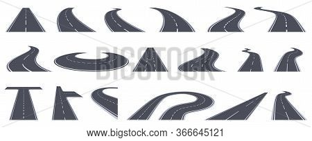 Road Perspective View. Curving Highway Roads, Bend Asphalt Roads In Perspective. Turn Town Urban Roa