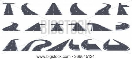 Road Way. Bending Asphalt Highway, Curved Perspective Roads, Urban Bending Town Path Isolated Vector