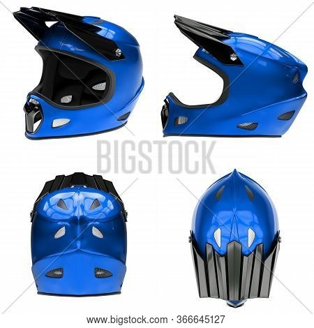 Set Of Motor Sport Fullface Helmet Isolated. All Side View. Extreme Sport Equipment. Blue Color. 3d