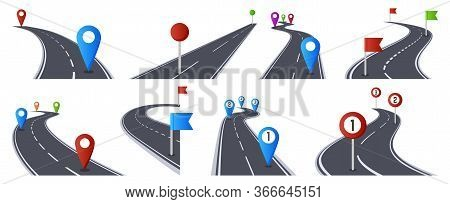 Roadmap With Pins. Bending Asphalt Roads Navigation Infographic, Marked Route, Way Direction Road Is