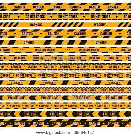 Caution Stripe Border. Warning Yellow, Black Tape, Criminal Police Line, Hazard Striped Ribbons. Sec