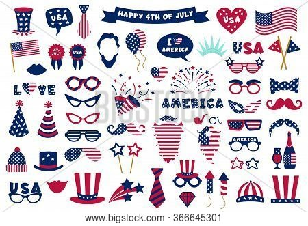 Photobooth Usa Patriotic Props. Celebration Photobooth Mask, American Glasses, Mustache And Hat, Pho