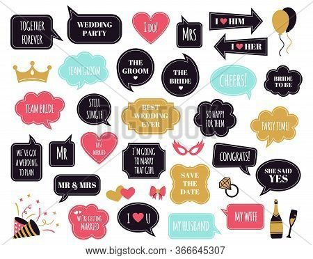 Wedding Photobooth Props. Bride And Groom Party Speech Bubble, Marriage Quotes For Wedding Celebrati