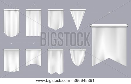 Realistic Pennants. White Textile 3d Flags, Blank Triangle Pennant, Empty Football Team Or Heraldic