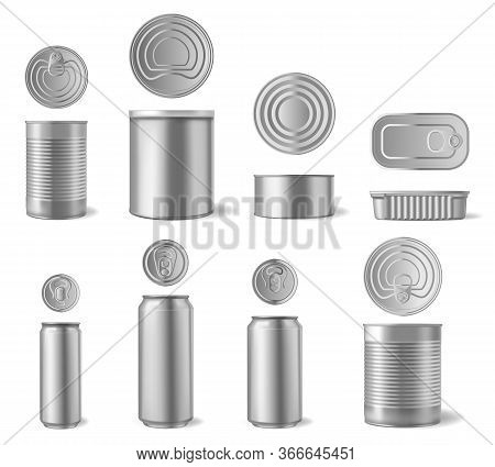 Realistic Aluminium Can. Beverages And Canned Food Cans, Metal Packaging Different Shapes Front And