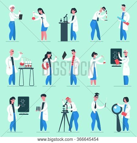 Science Characters. Lab People, Chemical Scientist Researchers Lab Coats, Chemistry Clinic Laborator