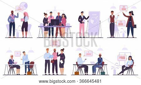 Business Team Characters. Teamwork Business Meeting And Brainstorming, Professional Office People Co