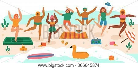 Beach Jumping People. Young Happy Characters Summer Vacation Activities, Laughing Teenagers Group Ju