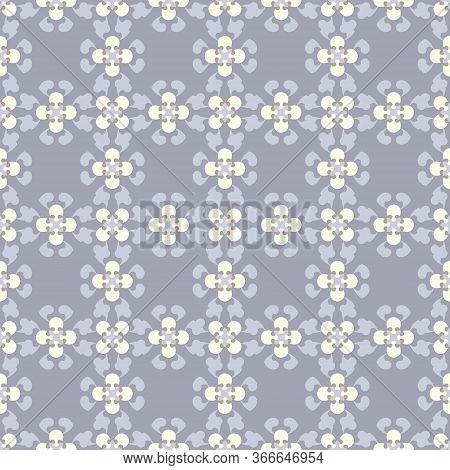 Seamless Pattern Retro, Vintage. Blue Jean, Pale Yellow And Chocolate Color. Pastel Colors. Vector.