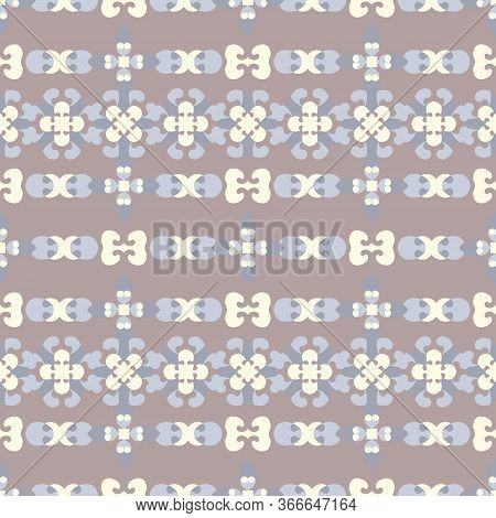 Seamless Pattern Retro, Vintage. Chocolate Color, Blue And Pale Yellow. Pastel Colors. Vector.