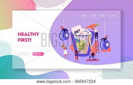 Diet Failure Landing Page Template. Characters Enjoying Unhealthy Junk Food. People Refuse Healthy L