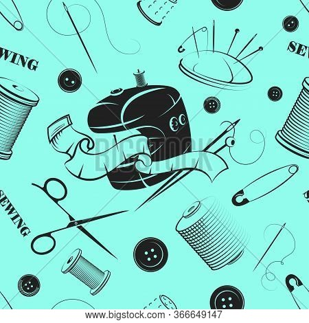Cutting And Sewing Tool Set Seamless Pattern Background Vector