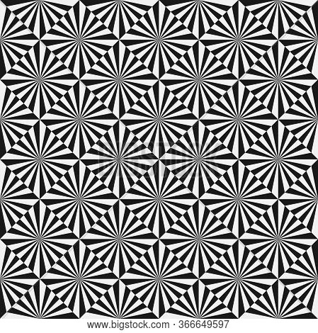 Abstract Monochrome Seamless Pattern. Optical Illusion. Black And White Rays. Vector Illustration.